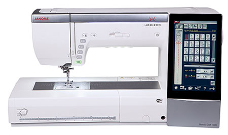 Janome Horizon Memory Craft 15000 Sewing & Embroidery Machine - Showing Touchscreen