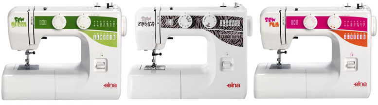 Elna Sew Green, Sew Zebra, and Sew Fun Sewing Machines