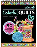 Colorful Quilts Adult Coloring Book - Features 50 Original Hand Drawn Designs Printed on Artist Quality Paper, Hardback Covers, Spiral Binding, Perforated Pages, Bonus Blotter
