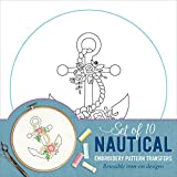 Nautical Embroidery Pattern Transfers (set of 10 hoop designs!)