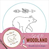 Woodland Embroidery Pattern Transfers (set of 10 hoop designs!)